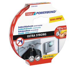 TESA DOBBELTKLÆBENDE POWERBOND ULTRA STRONG TAPE 5MX19MM