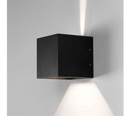 CUBE LED VÆGLAMPE SORT IP54 2X3W 256182
