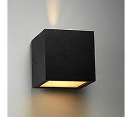 CUBE XL LED VÆGLAMPE SORT IP54 2X6W 256187