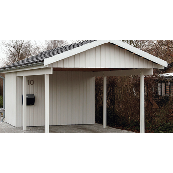 CARPORT ENKELT 3,60X7,20M CAR01HR MED REDSKABSRUM 3,20X2,20M