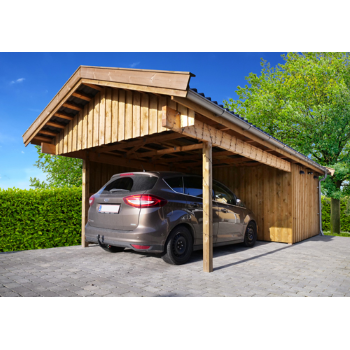 CARPORT ENKELT 3,60X8,10M CARL01HR MED REDSKABSRUM 3,05X3,20M